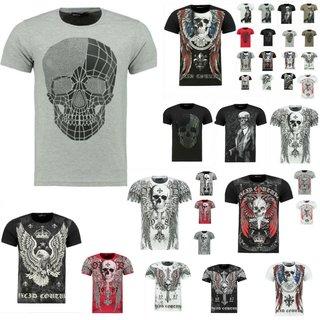Vintage T-Shirt Basic Shirt  Kurzarm  Totenkopf  Skull  Rocker Schädel SOMMER