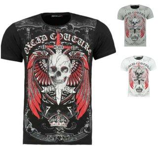 .Herren Vintage T-Shirt Shirt  Kurzarm  Totenkopf  Skull  Rocker Schädel. 9350