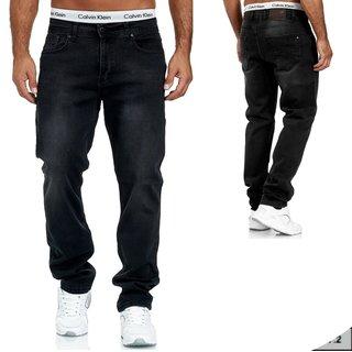 Herren Jeans  hose  Stretch Straight-Cut Gerades Bein  2326 BLACK