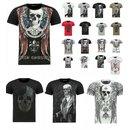 Herren Vintage T-Shirt Basic Shirt  Kurzarm  Totenkopf  Skull  Rocker Schädel