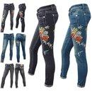 Damen Jeans Rohrenjeans Denim Blumen Muster Stonedwashed...