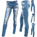 Damen Jeans Rohrenjeans Denim Blumen Muster Stonedwashed mit Pailletten MJ-CT003