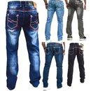 Herren Jeans Hose Denim KC-Black Washed Straight Cut Regular Dicke Naht  nähte