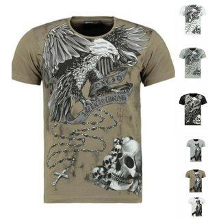 Herren Vintage T-Shirt Basic Shirt  Kurzarm  Totenkopf  Skull Rocker  9361  T