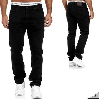 Herren Jeans  hose  Stretch Straight-Cut Gerades Bein   SCHWARZ H 6009