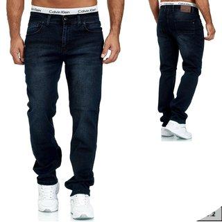 Herren Jeans  hose  Stretch Straight-Cut Gerades Bein  3538 BLAU
