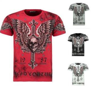 Herren Vintage T-Shirt  Shirt  Kurzarm  Totenkopf  Skull  Rocker Schädel 9353