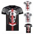 Herren Vintage T-Shirt Basic Shirt  Kurzarm  Totenkopf  Skull  Rocker Schädel 0