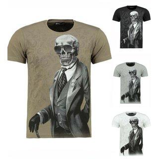 Herren Vintage T-Shirt Basic Shirt  Kurzarm  Totenkopf  Skull  T-Shirt 9356