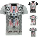 Herren Vintage T-Shirt Basic Shirt  Kurzarm  Totenkopf...