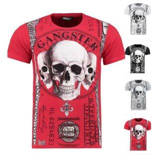 Herren Vintage T-Shirt Basic Shirt Kurzarm Totenkopf  Skull Rocker Schädel 9362