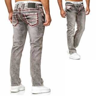 STRAIGHT Herren Jeans Slim Fit Basic Jeans Stretch Hose  DICKE NAHT  NEU