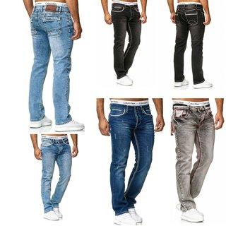 STRAIGHT Herren Jeans Slim Fit Basic Jeans Stretch Hose  DICKE NAHT  NEU 2020