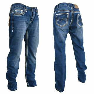 STRAIGHT Herren Jeans Slim Fit Basic Jeans Stretch Hose  DICKE NAHT  NEU 2134