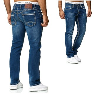 STRAIGHT Herren Jeans Slim Fit Basic Jeans Stretch Hose  DICKE NAHT  NEU GRAU