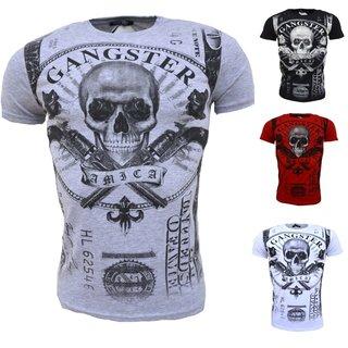 Vintage T-Shirt Basic Shirt  Kurzarm  Totenkopf  Skull  Rocker Schädel  19203