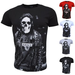 Vintage T-Shirt Basic Shirt  Kurzarm  Totenkopf  Skull  Rocker Schädel A