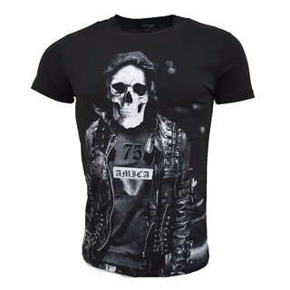 Vintage T-Shirt Basic Shirt  Kurzarm  Totenkopf  Skull  Rocker Schädel A ARTNR 19205-  SCHWARZ S