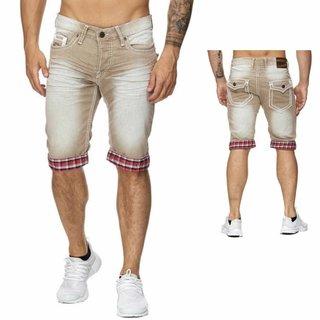 ,Herren Shorts Jeans Bermuda Cargo Capri Kurze Hose Vintage Short  138 Senf 4002