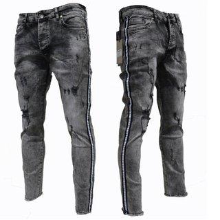 .Herren Jeans Hose Denim-Black Washed FIT  SKINNY BIKER Stretch Blau  5154 NEU