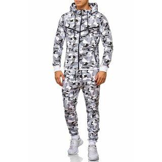1082.Herren Jogging Anzug Trainingsanzug Sweatshirt Hose Sportanzug weiss 732