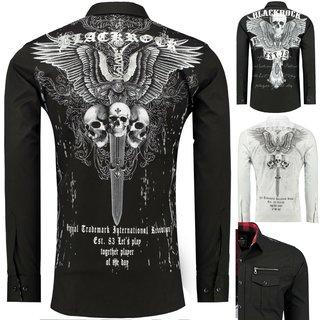 BlackRock Herren Hemd Langarm Freizeithemd Skull Totenkopf Motiv Print NEU