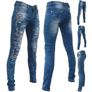 Damen Jeans Rohrenjeans Denim Blumen Muster Stonedwashed mit Pailletten MJ-CT006