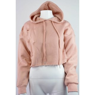 Damen Pullover Hoody Sixth June Beige Rose Destroyed Bauch-frei S-M NEU - 270181