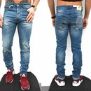 Freeside Herren Biker Jeans destroyed frayed stonewashed...