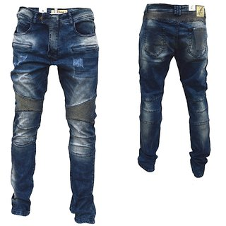 Herren Biker Jeans destroyed frayed stonewashed NORMAL Hose Freeside NETR 0013 0013 blau W32