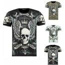 Herren Biker T-Shirt Skull Strass Rocker Shirt Slim Fit...