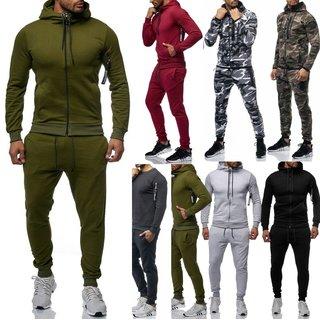 Herren Camouflage Jogginganzug Jogging Hose Jacke Sportanzug  Anzug Hoodie Zip