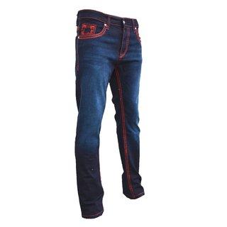 herren designer denim jeans hose dicke zier nähte W29-W40 NEU  D, blau/rot W33