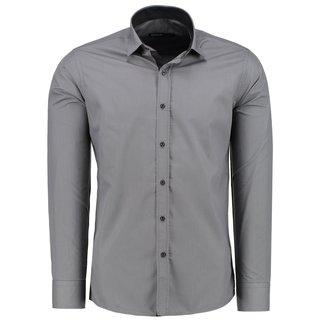 Herren Hemd Hemden Bügelleicht Business Hochzeit Freizeit Slim Fit GRAU