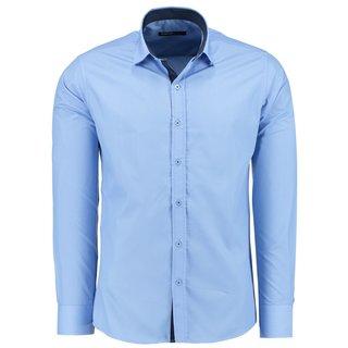 Herren Hemd Hemden Bügelleicht Business Hochzeit Freizeit Slim Fit L BLAU