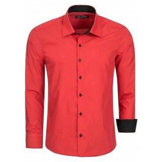 Herren Hemd Hemden Business Hochzeit Freizeit Slim Fit Bügelleicht ROT  1122