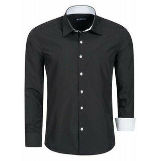 Herren Hemd Hemden Business Hochzeit Freizeit Slim Fit Bügelleicht schwarz 1122