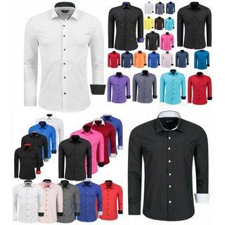 Herren Hemd Hemden Business Hochzeit Freizeit Slim Fit Bügelleicht WEISS 112222
