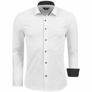 Herren Hemd Hemden Business Hochzeit Freizeit Slim Fit Bügelleicht WEISS 112222 Weiß k