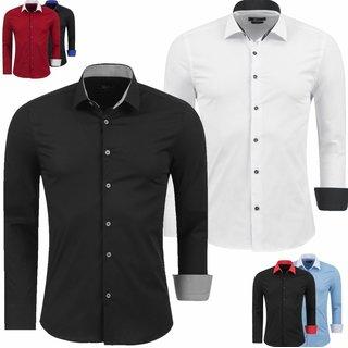 Herren Hemd Langarm Business Hochzeit Freizeit Shirt Bügelleicht Büro Party NEU