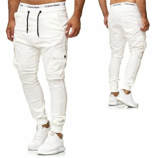 Herren Hose Chino Jogg Jogger Jeans Skinny Fit Cargo Stretch W29-W38 Weiss 3292
