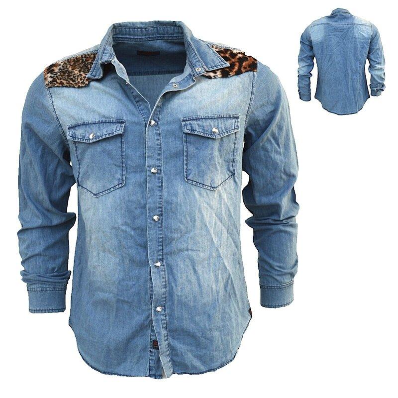 Herren Jeans Hemd Denim Hemden Langarm Shirt Jacke Vintage schwarz S-XXL