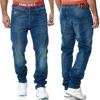 Herren Jeans Hose   Regular Straight  Fit Hose H 6000 BLAU