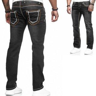 Herren Jeans Hose  Washed Straight Cut Regular Dicke Naht schwarz