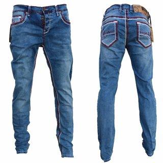 Herren Jeans Hose Denim Black Washed Straight Cut Regular  AMICA Dicke Naht