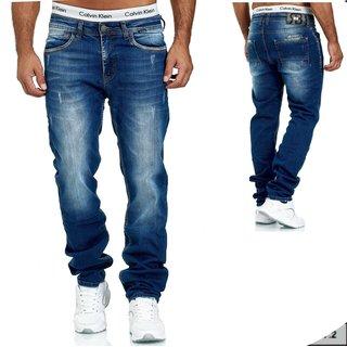 Herren Jeans Hose Denim Blau Straight-Cut Gerades Bein