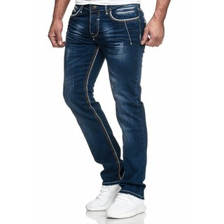 Herren Jeans Hose Denim Dicke Naht  Straight Cut Regular Stretch Näht  5025