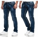 Herren Jeans Hose Denim Dicke Naht  Straight Cut Regular...