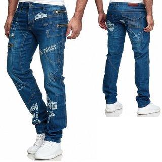 Herren Jeans Hose Denim Light-Blue KC-Black Washed Straight Cut Regular 80504