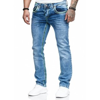 Herren Jeans Hose Denim Light-Blue KC-Black Washed Straight Cut Regular Stretch